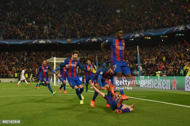 Sergi Roberto of Barcelona celebrates scoring his side's sixth goal during the UEFA Champions League Round of 16 second leg match between FC...
