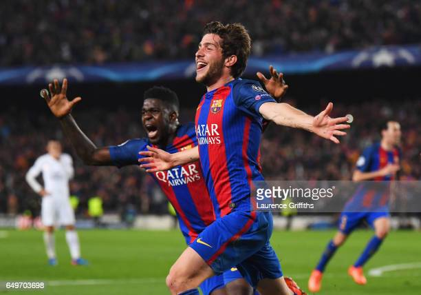 Sergi Roberto of Barcelona celebrates with Samuel Umtiti as he scores their sixth goal during the UEFA Champions League Round of 16 second leg match...