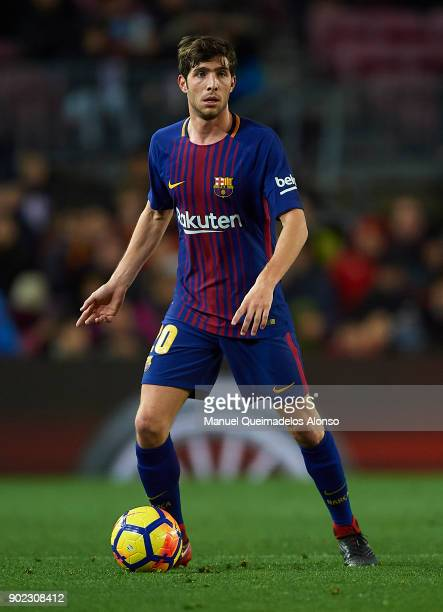 Sergi Roberto of Barcelona in action during the La Liga match between Barcelona and Levante at Camp Nou on January 7 2018 in Barcelona Spain