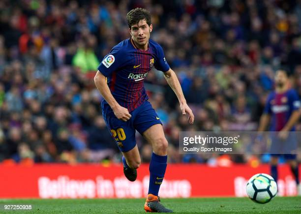 Sergi Roberto of Barcelona in action during the La Liga match between FC Barcelona and Atletico de Madrid at Camp Nou on March 4 2018 in Barcelona...