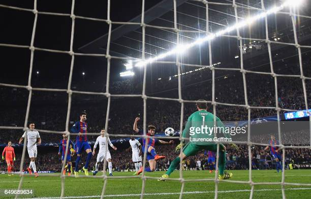 Sergi Roberto of Barcelona scores their sixth goal past goalkeeper Kevin Trapp of PSG during the UEFA Champions League Round of 16 second leg match...