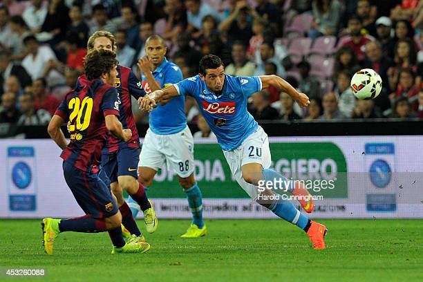 Sergi Roberto of FC Barcelona and Blerim Dzemaili of SSC Napoli in action during the preseason friendly match between FC Barcelona and SSC Napoli on...