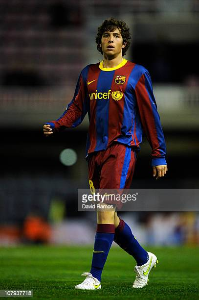 Sergi Roberto of FC Barcelona B looks on during the La Liga Adelante match between FC Barcelona B and Girona at Mini Estadi on January 8 2011 in...