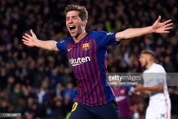 Sergi Roberto of FC Barcelona celebrates after scoring his team's fourth goal during the Copa del Quarter Final Second Leg match between FC Barcelona...