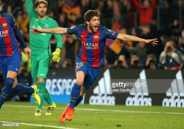 Sergi Roberto of FC Barcelona celebrates scoring the 6th and winning goal for Barca during the UEFA Champions League Round of 16 second leg match...