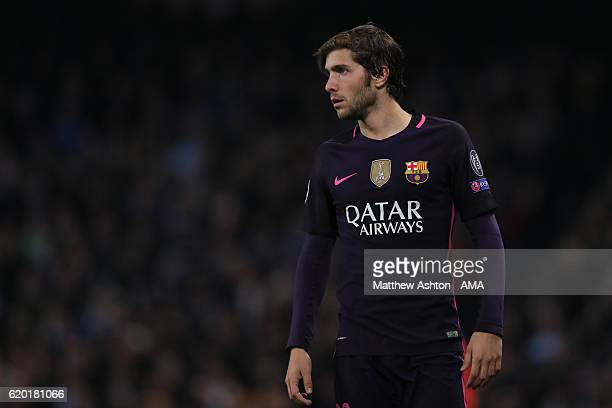 Sergi Roberto of FC Barcelona during the UEFA Champions League match between Manchester City FC and FC Barcelona at Etihad Stadium on November 1 2016...