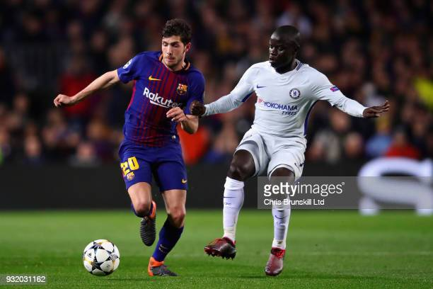 Sergi Roberto of FC Barcelona is challenged by N'Golo Kante of Chelsea during the UEFA Champions League Round of 16 Second Leg match between FC...