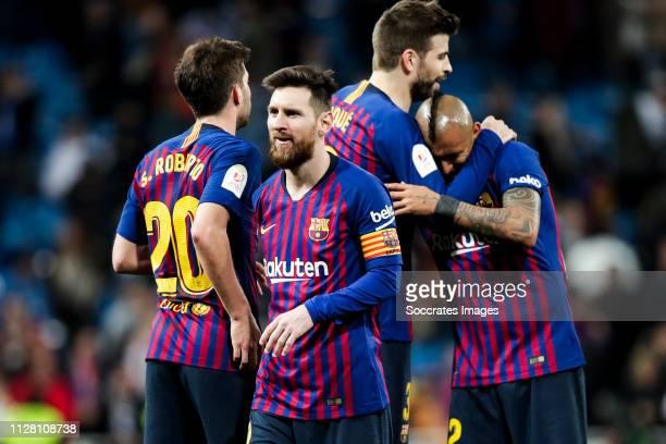 Sergi Roberto of FC Barcelona Lionel Messi of FC Barcelona Gerard Pique of FC Barcelona Arturo Vidal of FC Barcelona during the Spanish Copa del Rey...