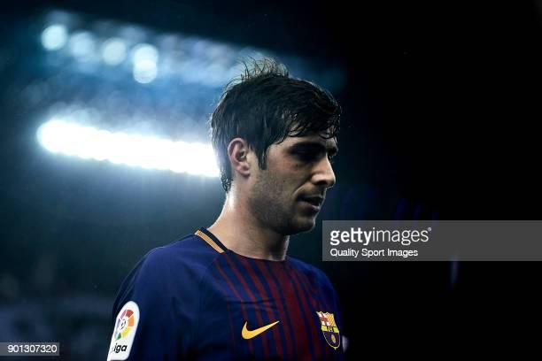 Sergi Roberto of FC Barcelona looks on during the Copa del Rey Round of 16 first Leg match between Celta de Vigo and FC Barcelona at Estadio de...