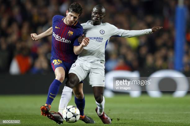 Sergi Roberto of FC Barcelona N'Golo Kante of Chelsea FC during the UEFA Champions League round of 16 match between FC Barcelona and Chelsea FC at...