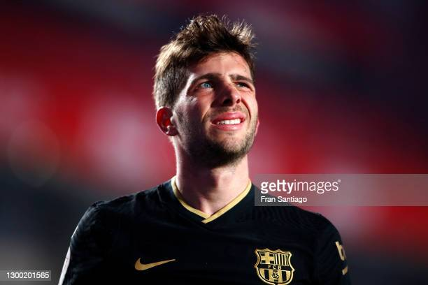 Sergi Roberto of FC Barcelona reacts during the Copa del Rey match between Granada and Barcelona at Estadio Nuevo Los Carmenes on February 03, 2021...
