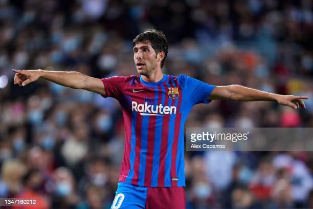 Sergi Roberto of FC Barcelona reacts during the LaLiga Santander match between FC Barcelona and Valencia CF at Camp Nou on October 17, 2021 in...