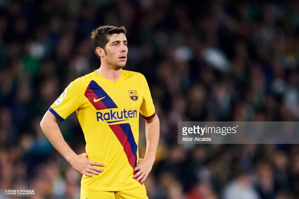 Sergi Roberto of FC Barcelona reacts during the Liga match between Real Betis Balompie and FC Barcelona at Estadio Benito Villamarin on February 09...