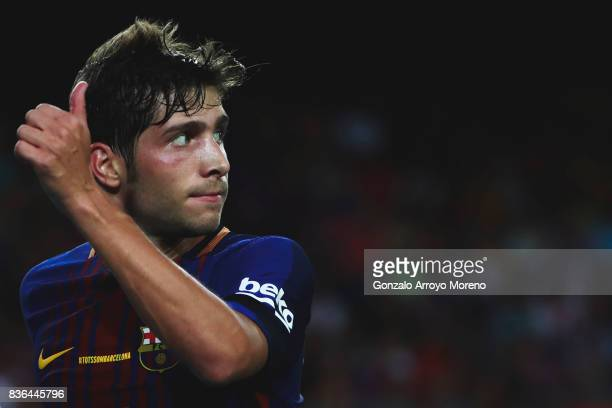 Sergi Roberto of FC Barcelona thumbs up during the La Liga match between FC Barcelona and Real Betis Balompie at Camp Nou stadium on August 20 2017...