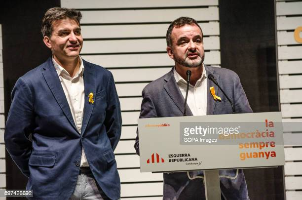 Sergi Sabrià and Alfred Bosch both leaders of ERC seen on stage during the election night of the 21D Two hours after the polling stations closed and...