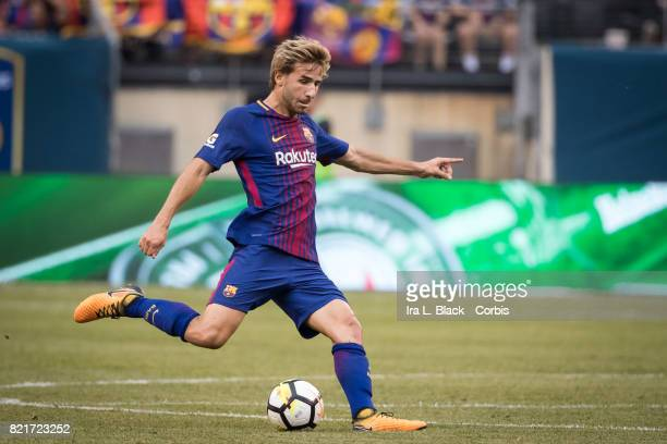 Sergi Samper of Barcelona kicks upfield during the International Champions Cup match between FC Barcelona and Juventus at the MetLife Stadium on July...