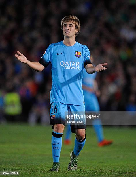 Sergi Samper of FC Barcelona reacts during the Copa del Rey Last of 16 First Leg match between CF Villanovense and FC Barcelona at estadio Romero...
