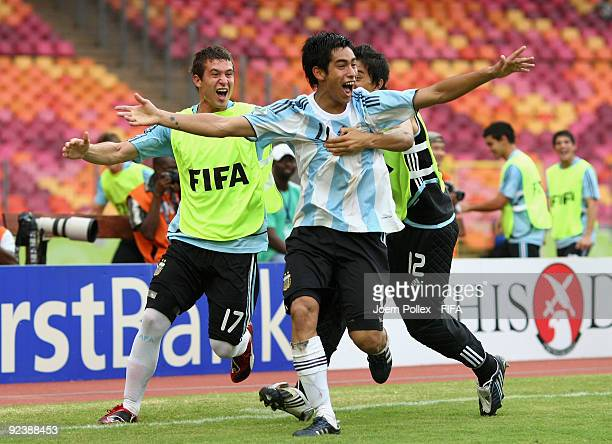 Sergiao Auraujo of Argentina celebrates after scoring his team's second goal during the FIFA U17 World Cup Group A match between Argentina and...