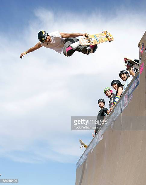 Sergie Ventura skates at the Quiksilver Tony Hawk All 80s All Day Vert Challenge at Quiksilver on December 6 2008 in Huntington Beach California