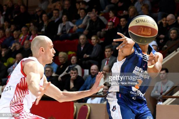 Sergii Gladyr of Monaco and JR Reynolds of Gravelines during the Pro A match between Monaco and Gravelines Dunkerque on February 11 2018 in Monaco...