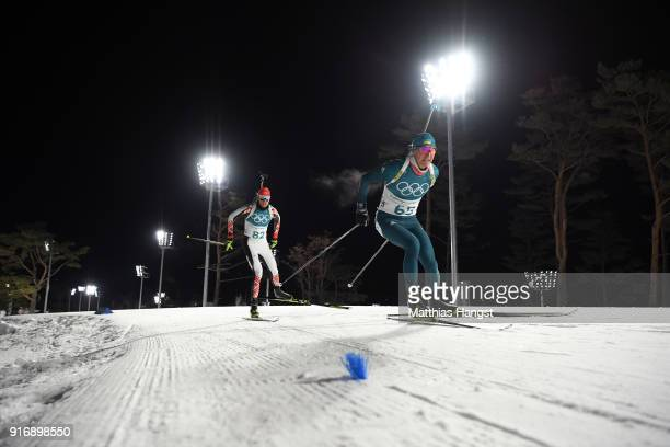 Sergii Semenov of Ukraine and Dimitar Gerdzhikov of Bulgaria compete during the Men's 10km Sprint Biathlon on day two of the PyeongChang 2018 Winter...