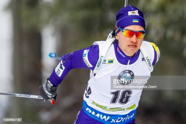 Sergii Semenov of Ukraine in action during the IBU Biathlon World Cup Men's 20km on December 6 2018 in Pokljuka Slovenia