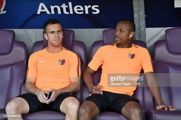 Serginho and Hugo Leonardo of Kashima Antlers look on prior to the FIFA Club World Cup UAE 2018 Second round match between Kashima Antlers and CD...