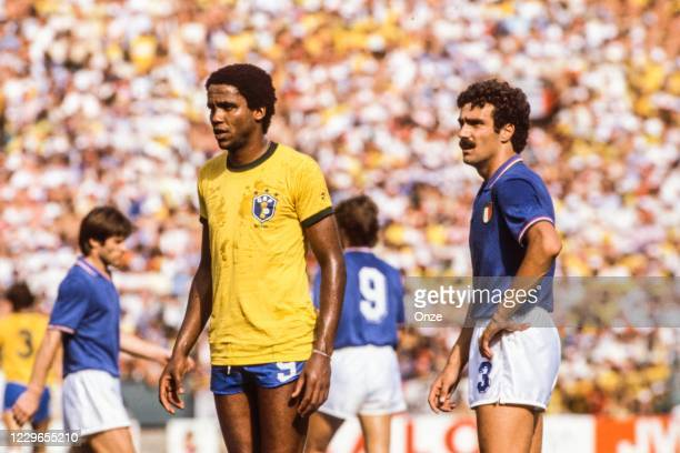 Serginho of Brazil and Giuseppe Bergomi of Italy during the second stage of the 1982 FIFA World Cup match between Italy and Brazil, at Sarria...