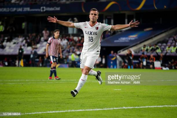 Serginho of Kashima Antlers celebrates after scoring a goal to make it 21 during the FIFA Club World Cup UAE 2018 match between Kashima Antlers and...