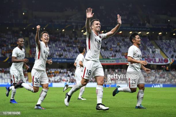 Serginho of Kashima Antlers celebrates after scoring his team's second goal during the FIFA Club World Cup UAE 2018 Second round match between...