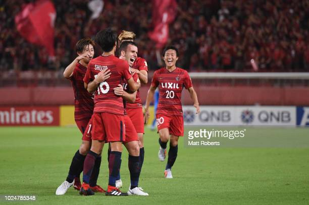 Serginho of Kashima Antlers celebrates scoring a goal during the AFC Champions League Round of 16 first leg match between Kashima Antlers and Tianjin...