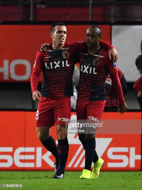 Serginho of Kashima Antlers celebrates scoring his side's first goal during the J.League J1 match between Kashima Antlers and Urawa Red Diamonds at...
