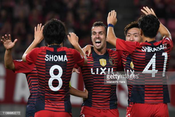 Serginho of Kashima Antlers celebrates the first goal during the AFC Champions League round of 16 first leg match between Kashima Antlers and...