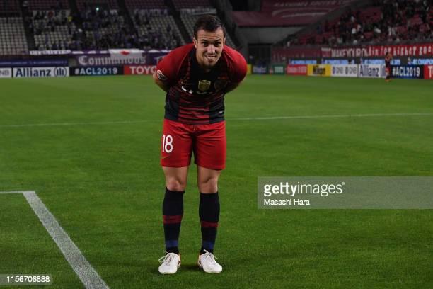 Serginho of Kashima Antlers celebrates the win after the AFC Champions League round of 16 first leg match between Kashima Antlers and Sanfrecce...