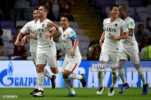 Serginho of Kashima Antlers celebrates with his teammates scoring the second goal of their team during the FIFA Club World Cup UAE 2018 match between...