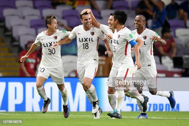 Serginho of Kashima Antlers celebrates with teammates after scoring his team's second goal during the FIFA Club World Cup UAE 2018 Second round match...