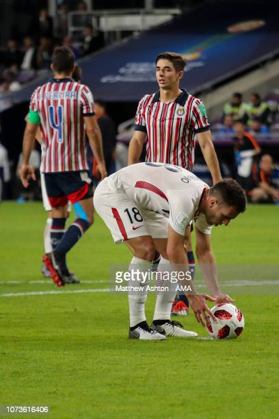 Serginho of Kashima Antlers places the ball on the spot after being awarded a penalty during the FIFA Club World Cup UAE 2018 match between Kashima...