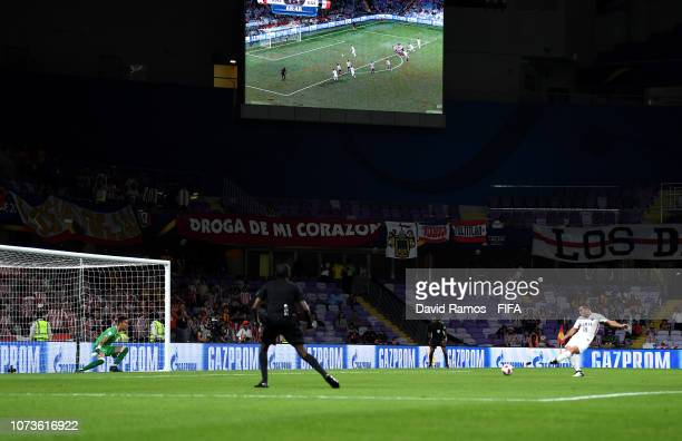 Serginho of Kashima Antlers scores a penalty for his team's second goal during the FIFA Club World Cup UAE 2018 Second round match between Kashima...