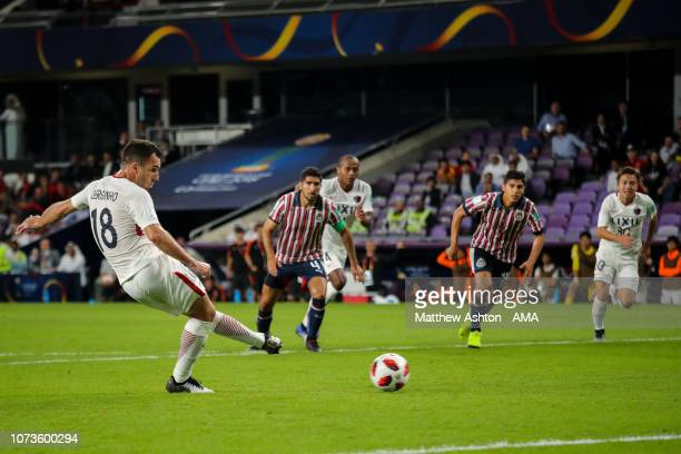 Serginho of Kashima Antlers scores a penalty to make it 21 during the FIFA Club World Cup UAE 2018 match between Kashima Antlers and CD Guadalajara...