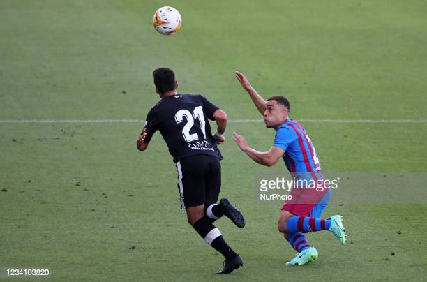 Sergino Dest and Joan Oriol during the friendly match between FC Barcelona and Club Gimnastic de Tarragona, played at the Johan Cruyff Stadium on...