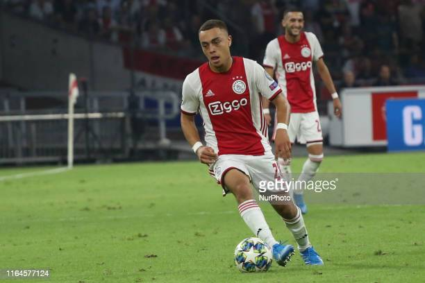 Sergino Dest controls for the ball during the second leg of the 2019/20 UEFA Champions League Final Final Qualifying Round fixture between AFC Ajax...
