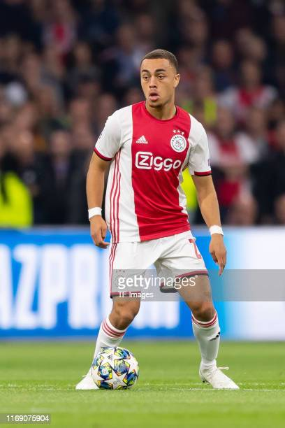 Sergino Dest of Ajax Amsterdam controls the ball during the UEFA Champions League group H match between AFC Ajax and Lille OSC at Amsterdam Arena on...