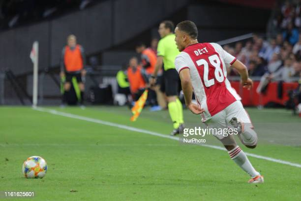 Sergino Dest of Ajax as seen in action during the FC AJAX Amsterdam vs PAOK Salonika football match game with score 32 for the UEFA Champions League...