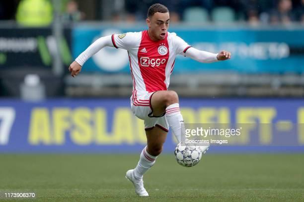 Sergino Dest of Ajax during the Dutch Eredivisie match between ADO Den Haag v Ajax at the Cars Jeans Stadium on October 6 2019 in Den Haag Netherlands