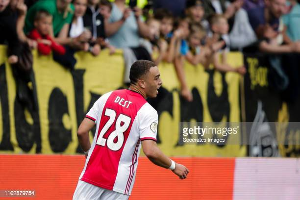 Sergino Dest of Ajax during the Dutch Eredivisie match between VVVvVenlo Ajax at the Seacon Stadium De Koel on August 17 2019 in Venlo Netherlands