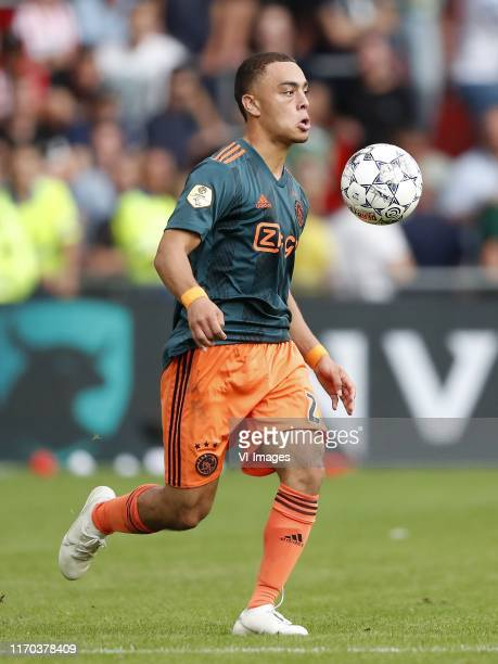 Sergino Dest of Ajax during the Dutch Eredivisie match between PSV Eindhoven and Ajax Amsterdam at the Phillips stadium on September 22 2019 in...