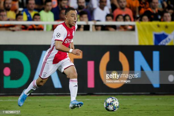 Sergino Dest of Ajax during the UEFA Champions League match between Apoel Nicosia v Ajax at the GSP Stadium on August 20 2019 in Nicosia Cyprus