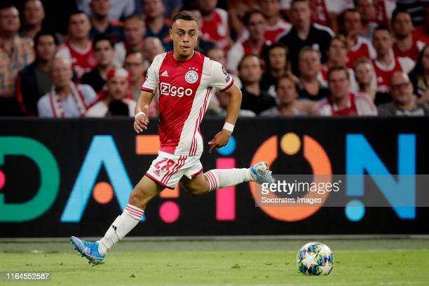 Sergino Dest of Ajax during the UEFA Champions League match between Ajax v Apoel Nicosia at the Johan Cruijff Arena on August 28 2019 in Amsterdam...
