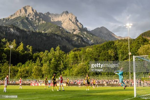 Sergino Dest of Ajax tries to score during the Pre-season Friendly match between Ajax and Watford FC at Saalfelden Arena on July 18, 2019 in...