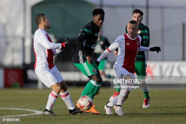 Sergino Dest of Ajax U19 Cheick Tourev of Feyenoord U19 Noa Lang of Ajax U19 during the match between Ajax U19 v Feyenoord U19 at the De Toekomst on...